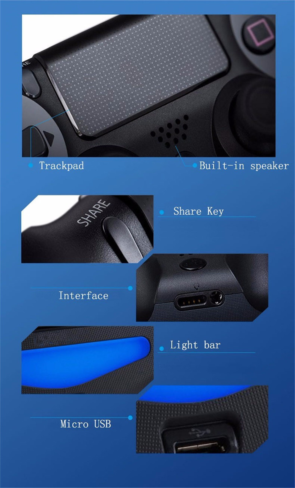 Bluetooth Gamepad and Wireless Gaming Controller for PS4 Pro/PC/iPhone/Android Smartphone 12