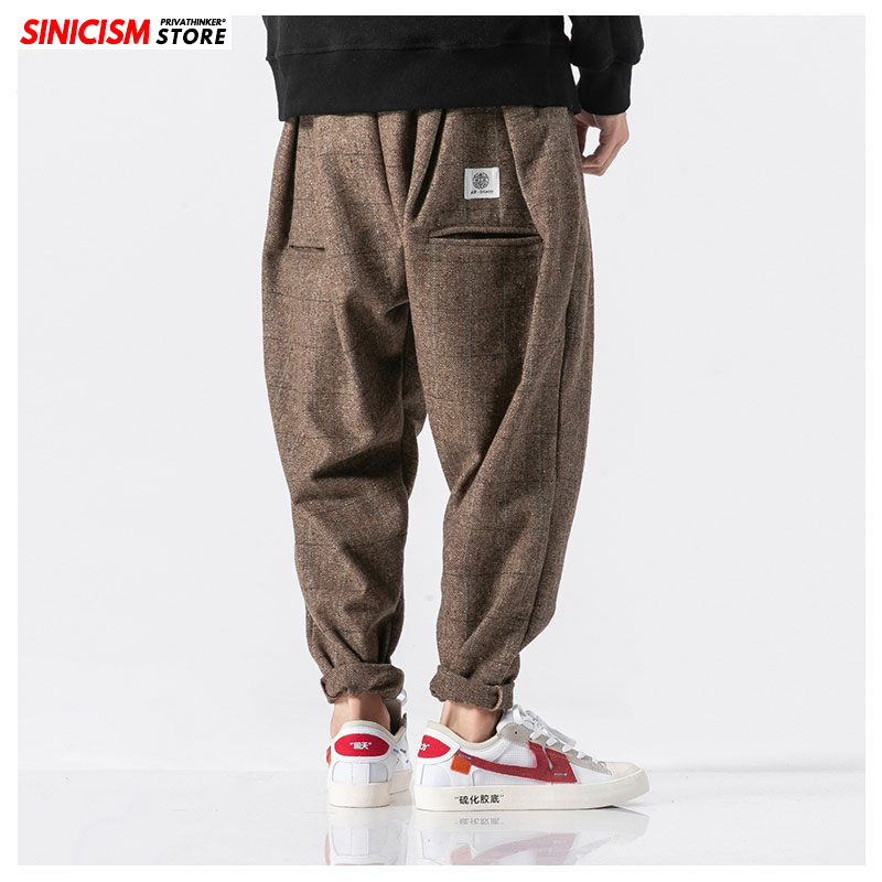 Sinicism Store Male Loose Jogger Legging Pant Japanese Casual Cotton Solid Thick Trouser 5XL Chinese Baggy Linen Harem Pants