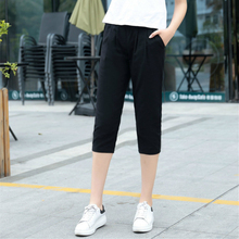 Summer New Women's Casual Solid Color Pants Capris Fashion C