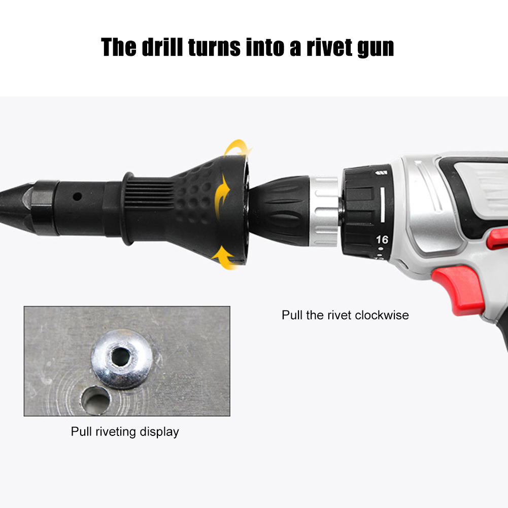 6pcs Nut Gun Insert Threaded Pull Setter Electric Rivet Nut Gun Rivet Conversion Adapter Rivets Power Drill Tools
