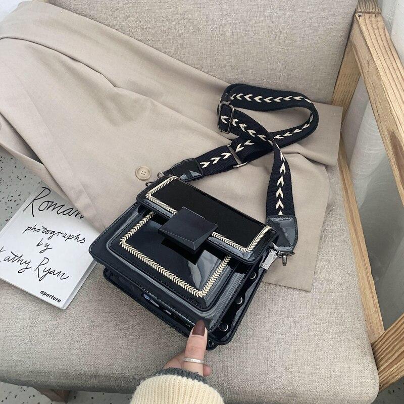 2020 New Women's Bag Wide Shoulder Strap Shoulder Bag Fashion Messenger Bag Casual Women's Bag Shiny Ladies Bag