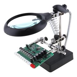 Welding Magnifying Glass with LED Light 3.5X-12X lens Auxiliary Clip Loupe Desktop Magnifier for Soldering Repair Magnifi Glass