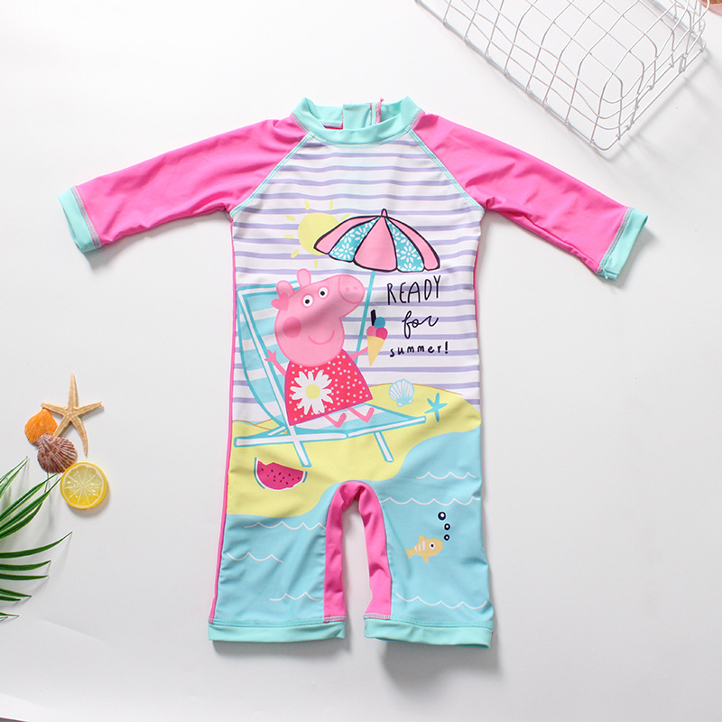 Peppa Pig Anime Figure Girl Swimsuit Peppa Pig Swimwear Girl Birthday Party Supplies Beach Gift Toys For Children High Quality