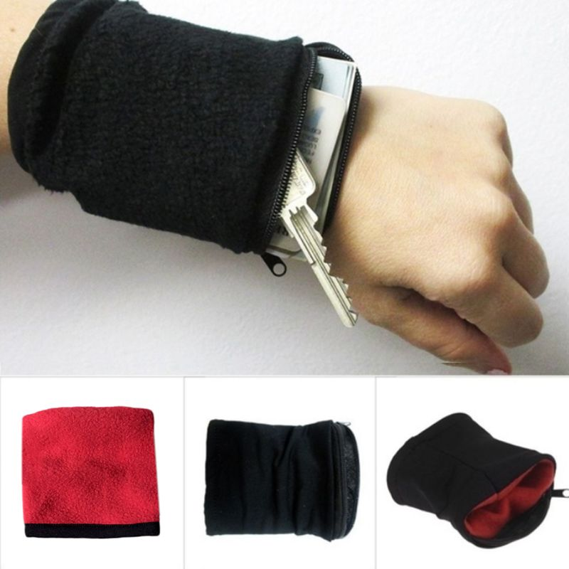 Unisex Multi-Use Running Wrist Support Wallet Athletic Sport Travel Gym Cycling Safe Coin Key Storage Zipper Pouch Bag Sweatband