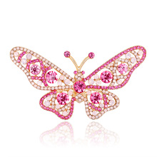 Cross-border e-commerce hot wild color Butterfly brooch brooch brooch ladies insect brooch spot rhinestoned butterfly brooch
