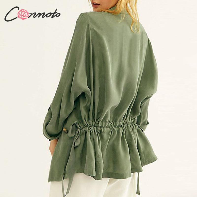 Conmoto Fall 2019 Women   Trench   Coat Fashion Drawstring Turn Down Collar Female Coats Autumn Winter Green Harajuku   Trench