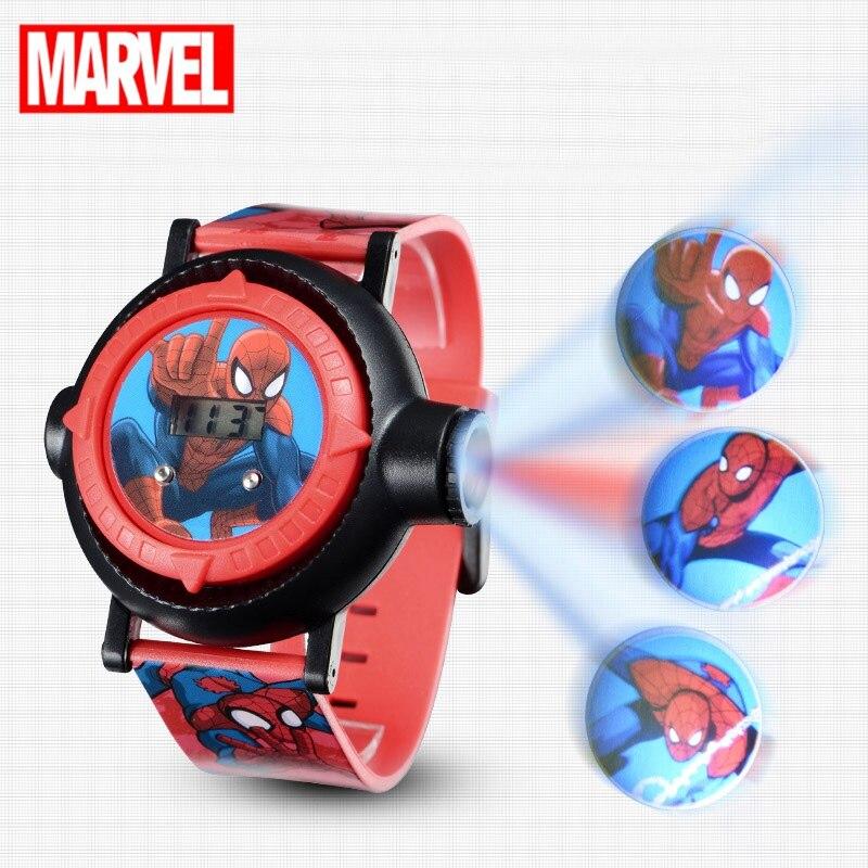 Spiderman Kinder Uhren Projektion Cartoon Muster Digital Kind uhr Für Jungen Mädchen Led-anzeige Uhr Relogio MARVEL Hero Zeit