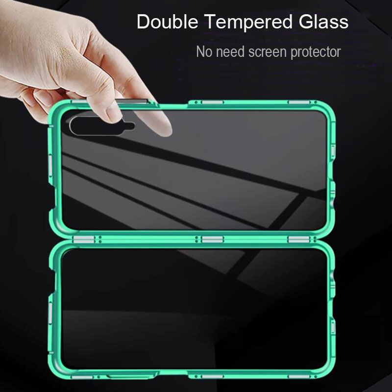 Double Tempered Glass Magnetic Phone Case for Xiaomi 6X 8 9 SE 9T A2 A3 Redmi Note 7 8 10 8A K20 CC9 Pro Case