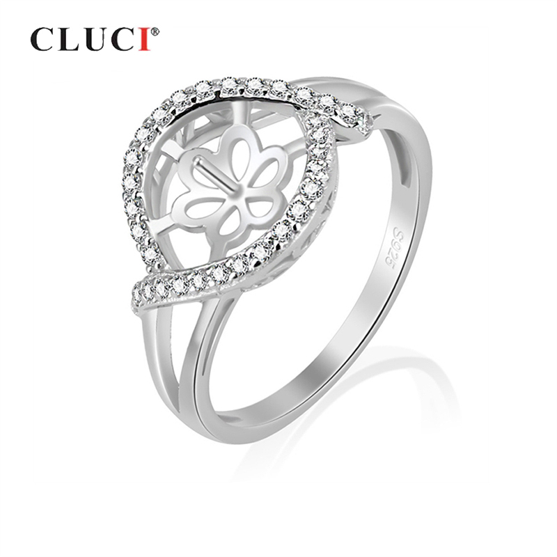 CLUCI Silver 925 Zircon Pearl Ring Mounting Jewelry For Women Engagement 925 Sterling Silver Flower Rings
