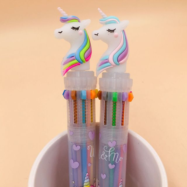 Lovely Unicorn Power 10 Colors Chunky Ballpoint Pen School Office Supply Gift Stationery Papelaria Escolar 4