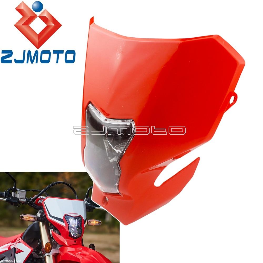 Motorcycle Plastic Red Headlamp Fairing For Honda CRF450L CRF450XR CRF450 2019-2020 Enduro Dirt Bike Homologated Headlight Mask