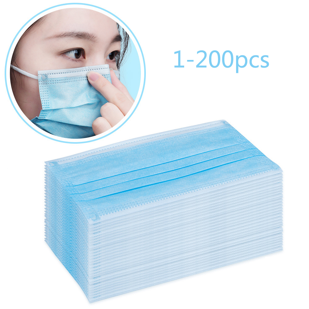 Disposable Face Masks 100 Pieces 3-layer Mask Face Mouth Mask Non Woven Disposable Anti-Dust Meltblown Cloth Mask Earloops Masks