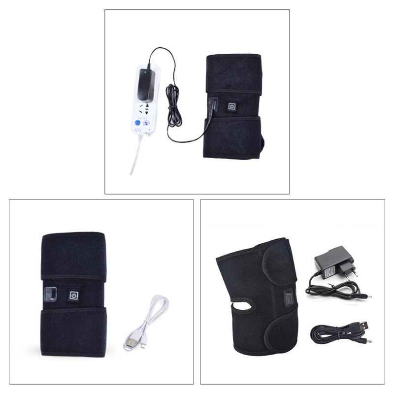 Unisex USB Heating Knee Brace Warm Support Wrap For Hot Cold Therapy Pain Relief C90E