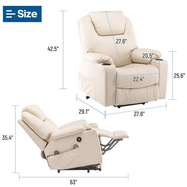 Faux Leather Reclining Chair and Electric Massage  6