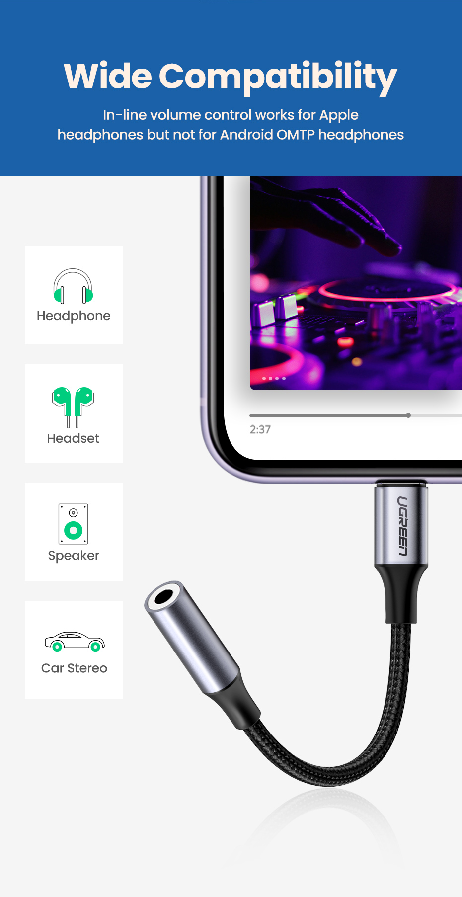 Ugreen MFi Lightning to 3.5mm Headphones Adapter for iPhone 11 Pro 8 7 Aux 3.5mm Jack Cable for Lightning Adapter Accessories