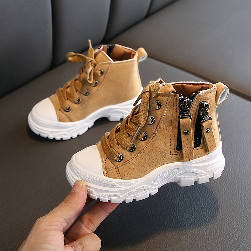 Kid's Boots Spring Autumn Boys Girls Martin Ankle Boots Lace-Up Leather Anti-slip Children Casual Workboots Outdoor Boys Booties
