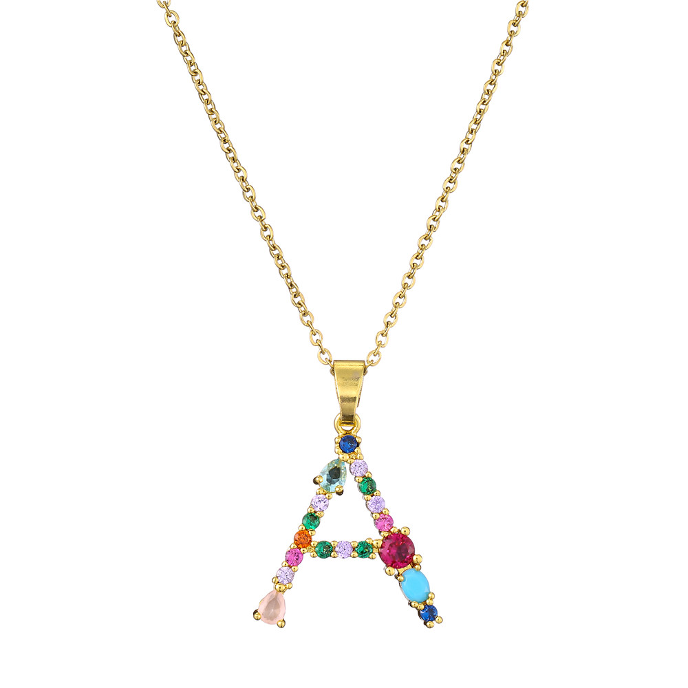 26 Capital Letters Necklace Women's 2021 New Bohemia Style Colored Necklace Copper Gold Color Clavicle Chain For Girls