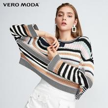 Vero Moda Women's Vintage Stripe Print Loose Fit Short Knit Top Sweater | 319424545
