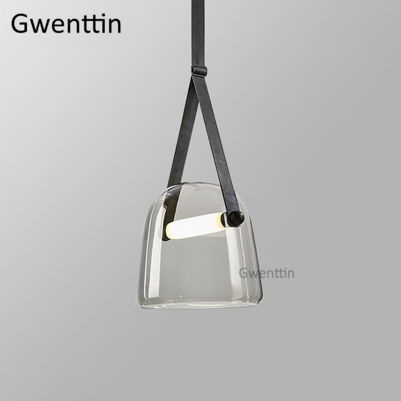 Image 4 - Modern Mona Glass Pendant Lights Led Belt Hanging Lamp for Living Room Bedroom Kitchen Fixtures Suspension Luminaire Home Decor-in Pendant Lights from Lights & Lighting
