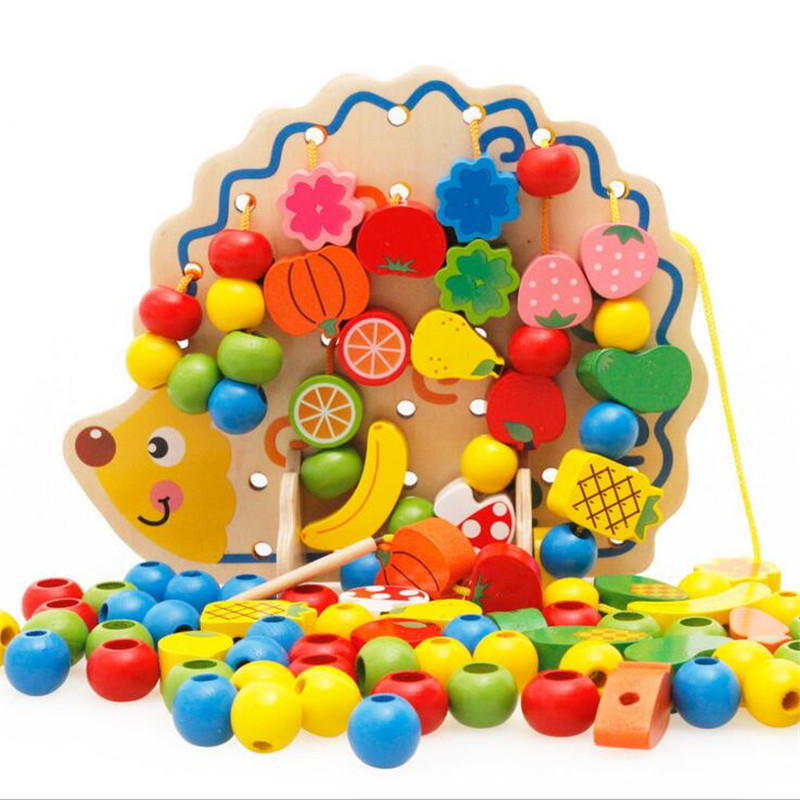 82PCS Wooden Fruits Vegetables Lacing Stringing Beads Toys With Hedgehog Board Montessori Educational Toy For Kids Children Gift