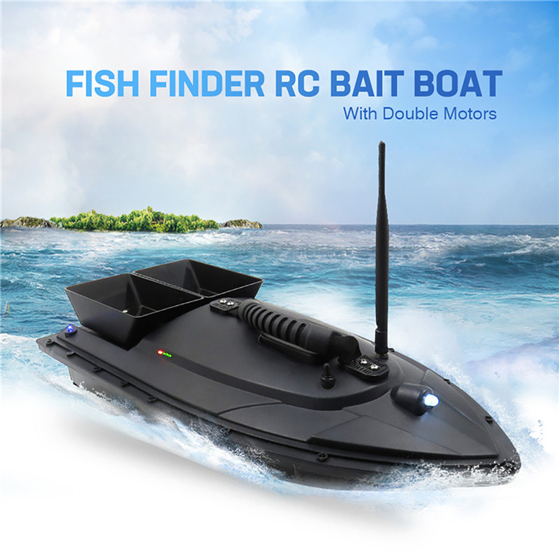 2011-5 New Throw Bait Fishing LED Boat Fixed-point Feeding RC Boat Line Sending 500M Remote Control Boat Fish Seeker image