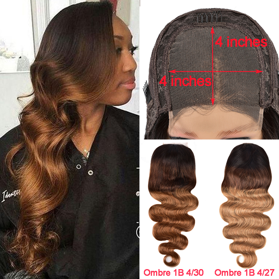 Brazilian 4x4 Lace Closure Wig Ombre Remy Human Hair Lace Closure Wavy Wig Pre Plucked Glueless Highlight Wig For Black Women