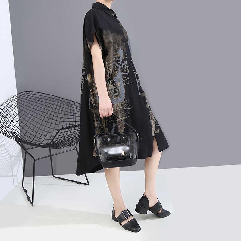 חדש 2020 קוריאני צבוע סגנון קיץ נשים שחור בציר חולצה שמלת מודפס גדול גודל גבירותיי אופנתי מקרית Midi שמלת חלוק 6107