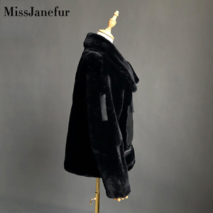 Image 5 - משלוח חינם נשים אופנה אמיתי עור מעיל חורף חם פרווה מעיל עור כבש צמר מעילים בתוספת גודל כבשים shearling