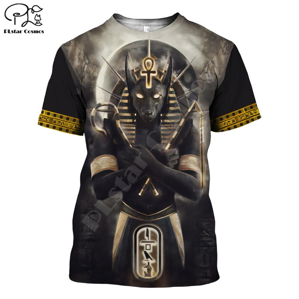 PLstar CosmosHorus Ancient Horus Egyptian God Eye Of Egypt Pharaoh Anubis Face 3dPrint T-shirt Men/Women Unisex Streetwear S-2