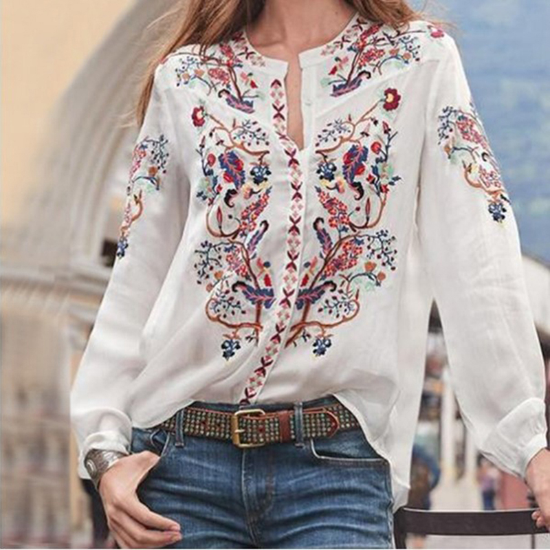 Industrious Women Bohemian Clothing Blouse Shirt Vintage Printed Tops Ladies Blouses Blusa Feminina Long Sleeve Shirts For Women Clothes Activating Blood Circulation And Strengthening Sinews And Bones