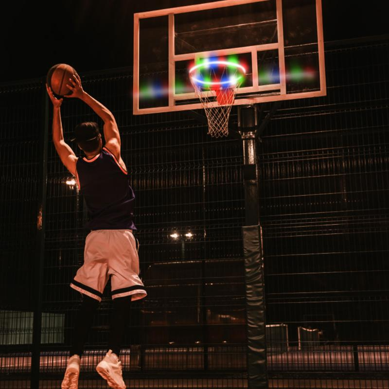 1pc LED Basketball Hoop Rim Light For Kids Game Children Outdoor Toys Solar LED Night Shooting Accessories Supplies Ball Sports