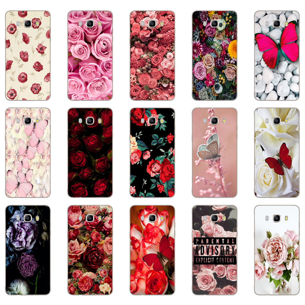 62DD <font><b>Red</b></font> butterfly on white roses flower Soft <font><b>Silicone</b></font> <font><b>Case</b></font> Cover for <font><b>Samsung</b></font> Galaxy a3 <font><b>a5</b></font> <font><b>2017</b></font> A6 A8 2018 j3 j5 j7 2016 <font><b>2017</b></font> image