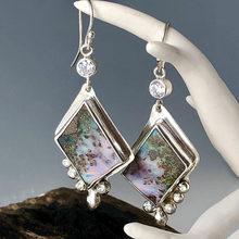 Geometria tribal roxo opala gota brincos vintage jóias quadrado resina pedra branco cristais declaração balançar brinco