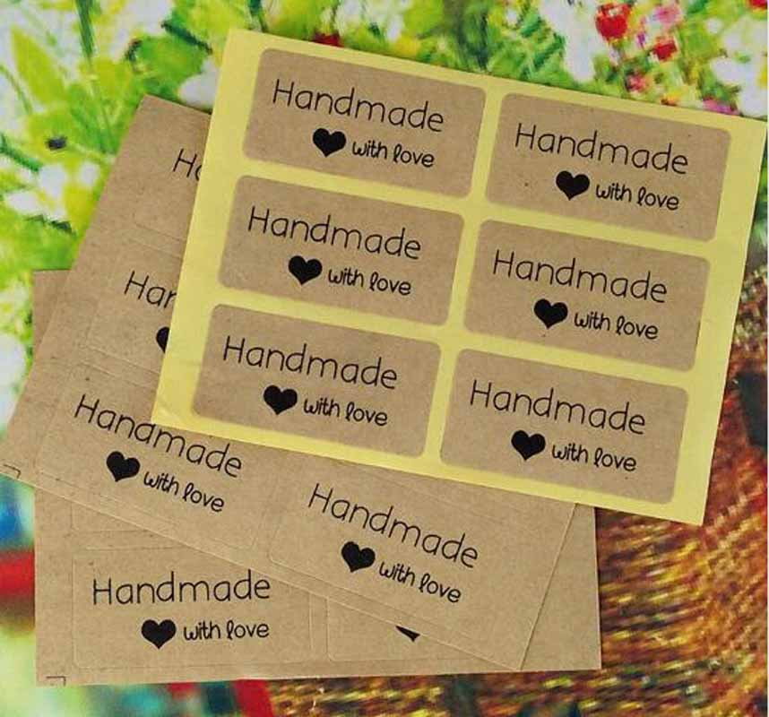 120PCS-2-4cm-new-style-Vintage-romatic-Handmade-with-love-Kraft-Paper-Sticker-label-stock-DIY (1)