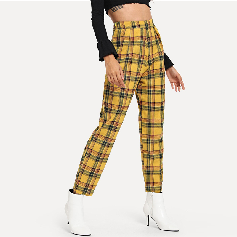 Casual Yellow Plaid Pants Women Mid Waist Zipper Fly Bottoms Pants Women Sweat Pants Tapered Carrot Trousers