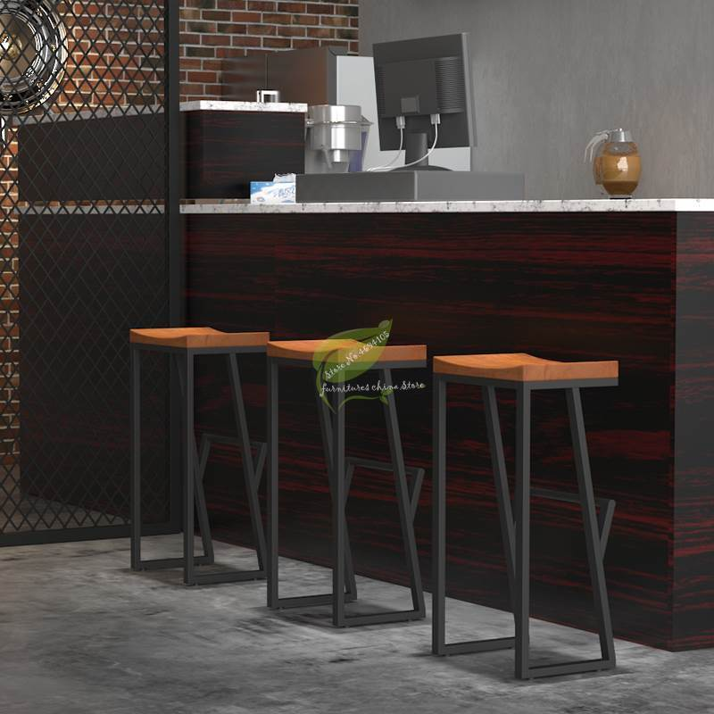 Front Coffee Chair Retro Bar Chair Wrought Iron Bar Stool Solid Wood Bar Stool Creative High Stool Leisure Bar Chair