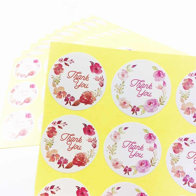 "120 Pcs/lot ""Thank you"" Flower Circular DIY Stickers Sealing Packaging Sticker Baking Packaging Label Cake Box Party Decoratie"