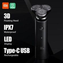 شاومي Mijia ماكينة حلاقة كهربائية S500 IPX7 مقاوم للماء الرجال الحلاقة اللحية المتقلب 3 رئيس فليكس المزدوج شفرة مع LED عرض شاومي ماكينة حلاقة
