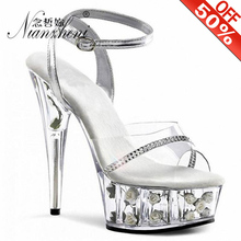 Elegant Cos Player Women's Shoes Flower Crystal Wedding Shoes Sexy 15cm High Heels Sandals Transparent sexy clubbing shoes women shoes female model t station catwalk sexy crystal transparent shoes 15cm high heels waterproof head fish head sandals