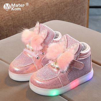 Size 21-30 Children's Led Sneakers Girls Glowing Kids Shoes for Girls Luminous Girls Sneakers Baby Kid Shoes with Backlight Sole 2019 new size 26 44 kids luminous sneakers for girls boys women shoes with light led shoes with flower glowing sneakers