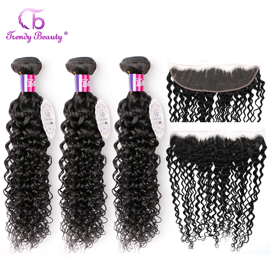 Trendy Beauty Brazilian Kinky Curly 3 Bundles With 13X4 Ear To Ear Lace Frontal Closure Non Remy 100% Human Hair Extensions