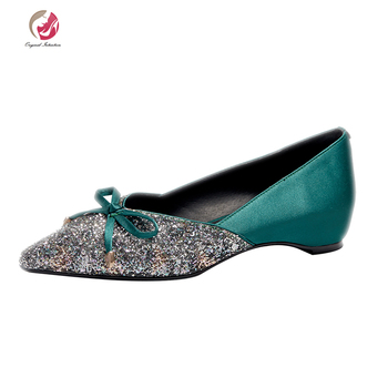 Original Intention Sweety Lady Green Pink Satin Sequins Pumps Woman Pointed Toe Wedges Elegant Spring Shoes Female Date Dress