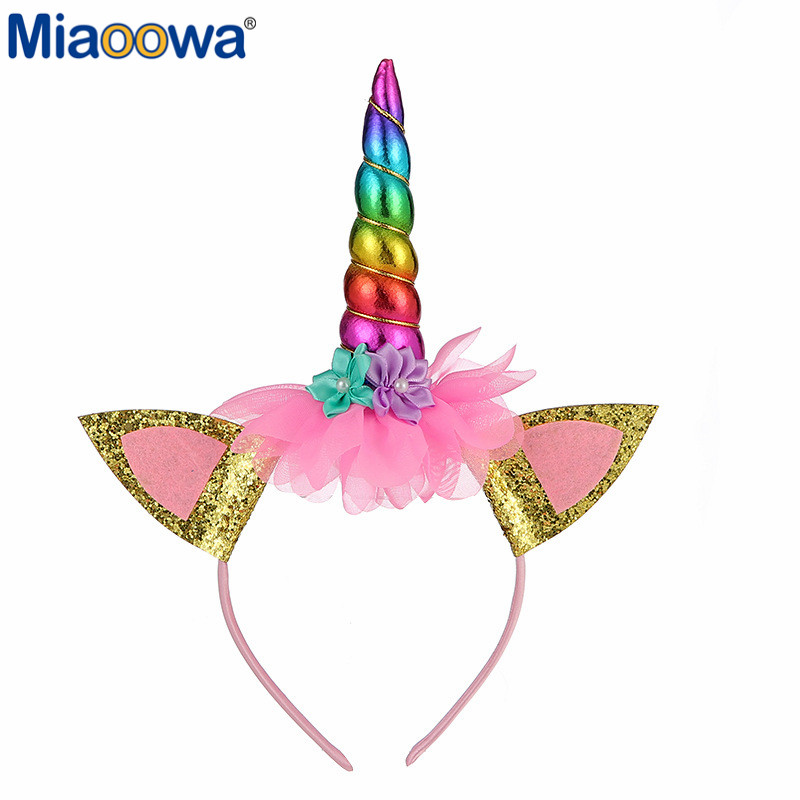<font><b>Girls</b></font> Flowers Cute <font><b>Unicorn</b></font> Headbands Children Headwear Plush <font><b>Toys</b></font> Photo Props Party Hair Hoop Hairbands Kids Hair Accessories image