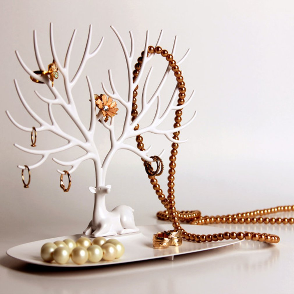 1PC Deer Jewelry Earrings Necklace Chain Brecelet Stand Fashion Decoration Container Display Deer Stand Tray Tree Storage