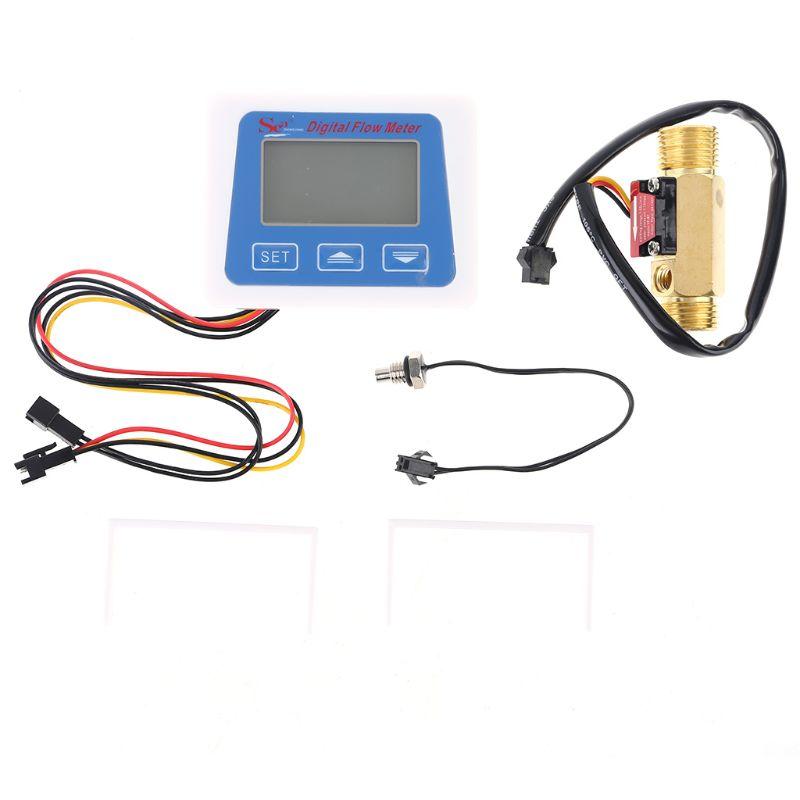Digital LCD Water Flow Sensor Meter Flowmeter Rotameter Temperature Time Record with G1/2 Flow Sensor
