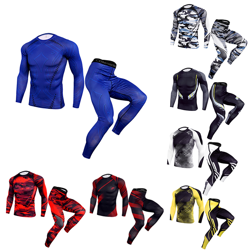 Men's Thermal Underwear Set MMA Rashgard Tactics Leggings Solid Color Fitness Men's Compression Set Training Cycling Sportswear