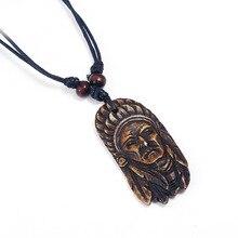 Mode Vintage Tribal Indian Chef Kopf Anhänger Halskette Ethnische Geschnitzte Charme Einstellbar Lange Seil Leder Kette Unisex Schmuck