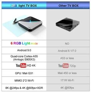 Image 4 - 2020 A95X F3 אוויר 8K RGB אור חכם טלוויזיה תיבת Amlogic S905X3 אנדרואיד 9.0 4GB 64GB Plex מדיה שרת Youtube ממיר