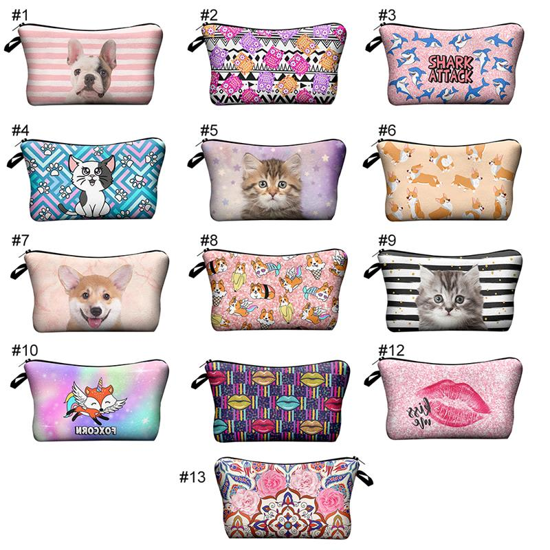 3D Cute Cat Animal Printing Man Women Makeup Bag Cosmetic Bag Case Make Up Organizer Toiletry Bag Kits Storage Travel Wash Pouch