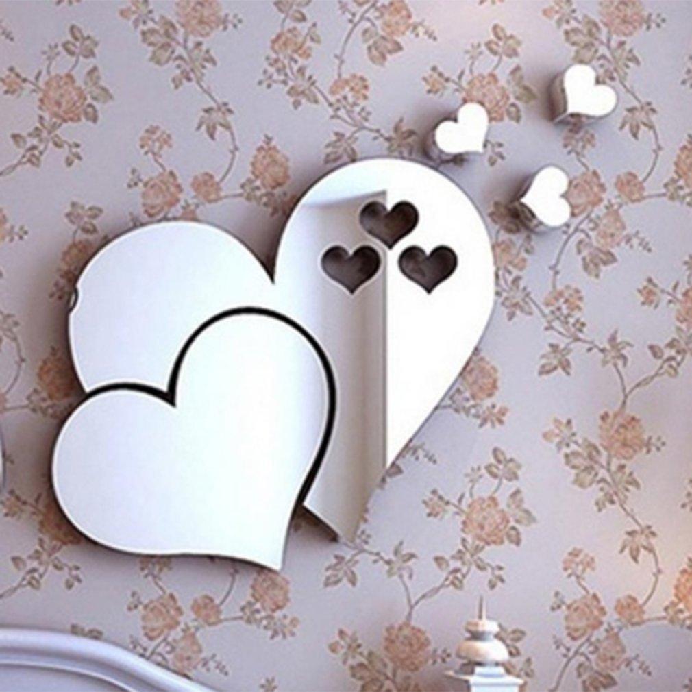 3D DIY Acrylic Mirror Wall Sticker Flower/Heart Stickers Decal Mosaic Mirror Effect Living Room Bedroom Home Decor Wallpaper